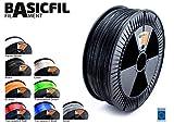 BASICFIL PET 1.75mm, 2.3 kg filamento de impresión 3D, Negro
