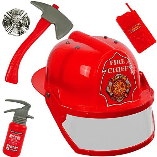 alles-meine.de GmbH 5 TLG. Set: Feuerwehrmann Zubehör + Helm - verstellbar + mitwachsend - mit Hammer + Handy + Feuerlöscher + Abzeichen - Kinder / Feuerwehrhelm Visier für Feuer..