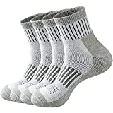 ECOEY EXPLORER Merino Wool Hiking Outdoor Trail Quarter Socks For Men and Women 4 Pairs, Moisture Wicking Sweat Control (Smoke Green, US Shoe Size: Men 12-15/Women 13.5-15.5)