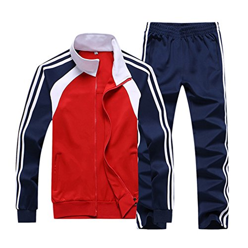 Sun Lorence Men's Athletic Running Tracksuit Set Casual Full Zip Jogging Sweat Suit Red L