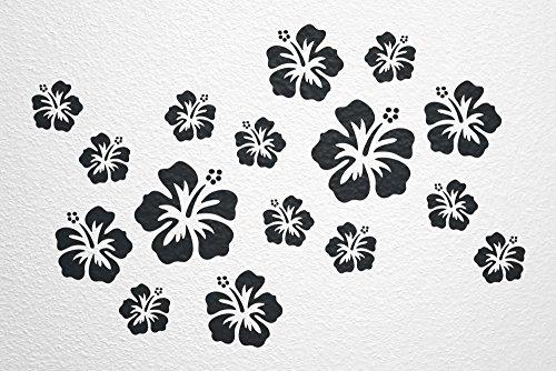 WANDfee Wandtattoo Hibiskus Blumen Hibiskusblüten FARBWUNSCH Wandaufkleber Fliesenaufkleber schwarz schwarz