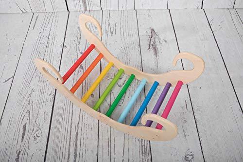 PI-ROCKKIDS Bogenwippe aus Holz - handgefertigter Kletterbogen für Babys und Kinder, waldorf montessori Pikler, Regenbogen Geschenk für Babys ab 6 Monaten wippe EN 71