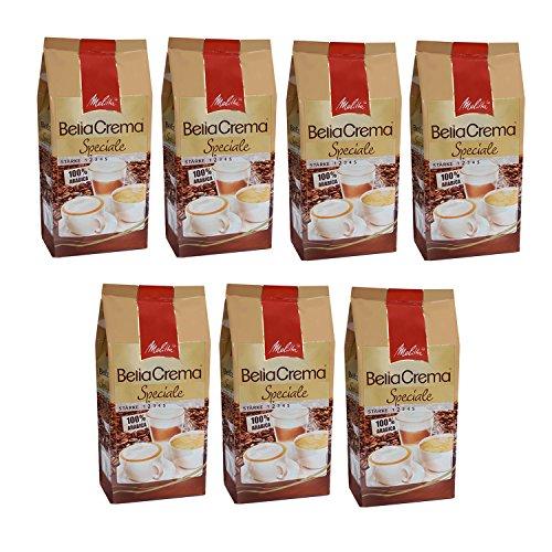 Melitta BellaCrema Speciale, 100 % Arabica, Ganze Kaffeebohnen, 1000g, 7er Pack (7 x 1kg)
