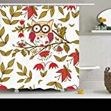 Cortinas de baño/Bath Curtain, Shower Curtains Sets with Hooks 72 x 72 Inches Branch Cute Owl Pattern Flower Wildlife Abstract Plant Waterproof Polyester Fabric Bath Bathroom Curtain