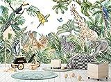 Papel pintado de la selva y animales para niños 366 cm de ancho x 254 cm de alto póster de decoración de pared de acuarela leones jirafa elefante