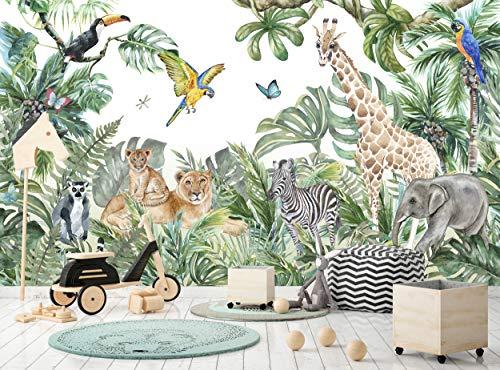Papel pintado de la selva y animales para niños 366 cm de ancho x 254 cm de alto póster de decoración de pared de acuarela...