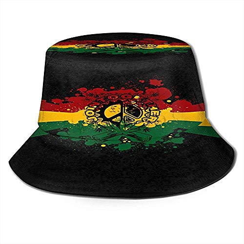 Reggae Rasta Sun Hat Sombreros de Pescadores Transpirables con protección Solar UV Gorra de Pesca Empacable al Aire Libre Ligero Unisex