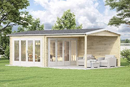Alpholz Gartenhaus Freiburg mit 2 Falttüren aus Massiv-Holz | Gerätehaus mit 44 mm Wandstärke | Garten Holzhaus inklusive Montagematerial | Geräteschuppen Größe: 755 x 399 cm | Satteldach