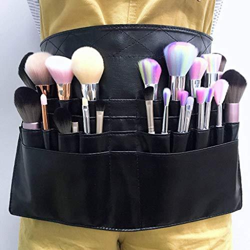 HUANXA Professionnel Trousse De Maquillage PU, Pliable Trousse De Toilette Multi-Poche Portable Sac De Tablier Porte Pinceau De Maquillage-Noir