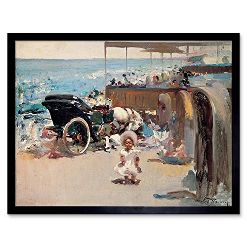 Jose Navarro Llorens Horse Drawn Carriage Child On Beach Art Print Framed Poster Wall Decor 12x16 Inch Caballo Playa Póster Pared