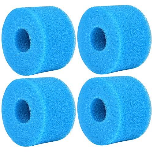 4 Piezas Esponja para Filtro de Piscina para Intex S1, Filtro de Cartucho de Esponja, Filtros de Piscina de Espuma, Esponja de Filtro de Piscina para Piscina SPA Jacuzzi, Reutilizable, Lavable