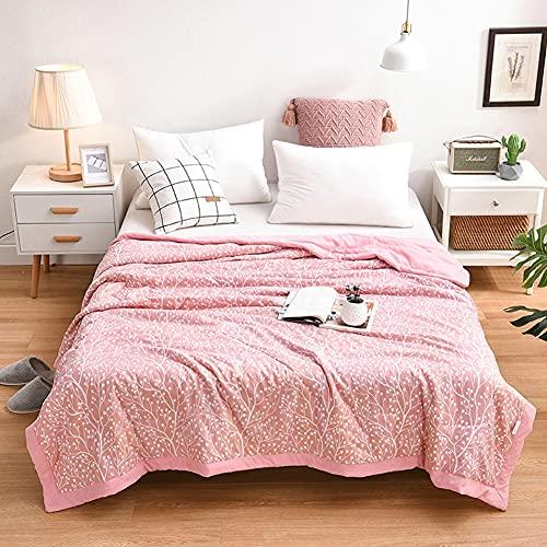 FENXIXI Colchón de Verano colchón Suave cálido Colcha Colcha Colcha sofá Tela Escocesa luz Delgada Lavado mecánico (Color : Pink, Size : 200x230cm)