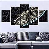 Fbhfbh Cadre De Toile Hd Art Cadre Affiche Imprimé Décoration De La Maison 5 Pièces Star Wars Battleship Salon Modulaire Photos Peintures, 8 X 14/18/22 Pouces, Avec Cadre