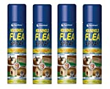 Flea Killer Spray 4 x 200ml Aerosol Animal Flea Dog Cat Tick Protection