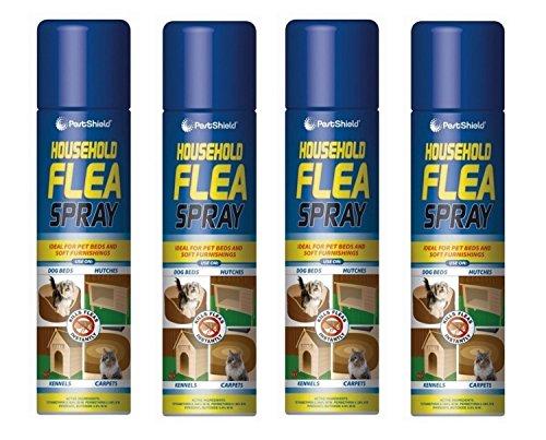 Asesino de pulgas Spray 4 x 200 ml Aerosol Animal Pulgas Perro Gato Tick Protección Casa