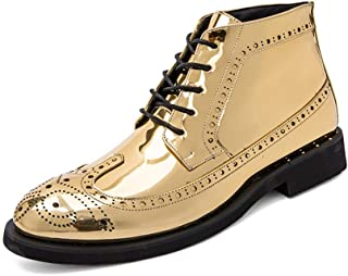 Best-choise Men's Fashion Ankle Work Boot Casual Autumn and Winter Classic Carved Patent Leather Brogue High Top Boot Eye-...
