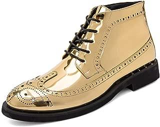Herren Schnürstiefeletten Lackleder High Top Sneakers Halbschuhe Sneaker Stiefel