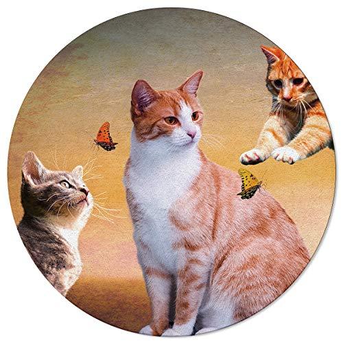 SunnyM Alfombra Redonda con diseño de Gato y Mariposa, para Jugar en Interiores/salón/Dormitorio/Sala de Juegos Infantil/Cocina con Respaldo de Goma Antideslizante para Yoga, Cat20s6214, 4\'x4\'