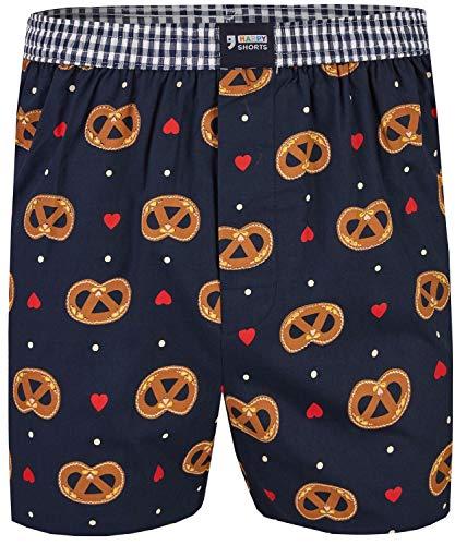 Happy Shorts Herren American Boxer Boxershorts Shorts Webboxer Designs fürs Oktoberfest Lebkuchenherz Brezel und Bier, Grösse:L - 6-52, Präzise Farbe:Brezel/Herz