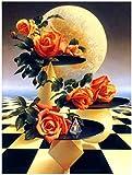 DGSJH Pintura de mosaico de diamantes geométrica rosa tablero de ajedrez universo DIY mural 5D arte redondo foto bordado set regalo casa - 40 x 50 cm