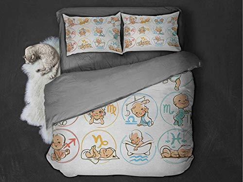 Astrology Comfort Luxurious Softest Premium Bed Sheet Set Zodiac Sign with Cute Colorful Baby Figures Sleeping Cute Characters Design Print Anti-wrinkle and anti-fading (Twin) Multicolor