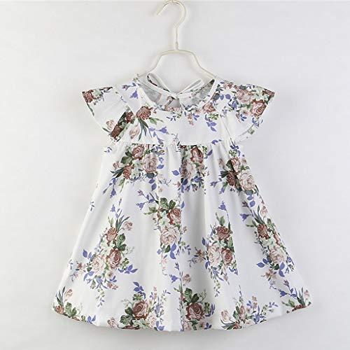 Janly Clearance Sale Vestido de niña para niñas de 0 a 10 años de edad, bebé niña niña con estampado floral vestido de princesa de manga corta, blanco, 18-24 meses