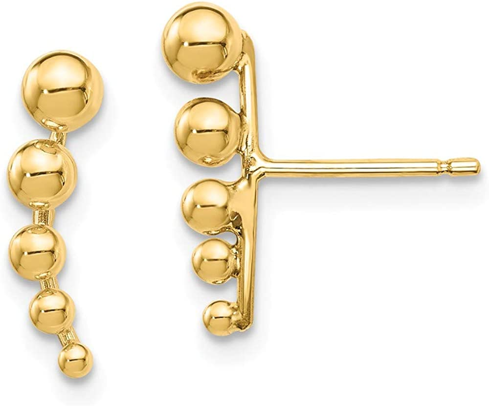 14k Yellow Gold Graduated Ball Post Stud Earrings Fine Jewelry For Women Gifts For Her