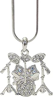 Lola Bella Gifts Crystal Drum Set Kit Pendant Necklace with Gift Box