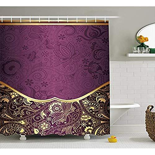 qhtqtt Duschvorhang Eastern Oriental Und Abstract Swirly Floral Frame Künstlerische Vintage Stoff Bad Gardinen 180X200Cm A