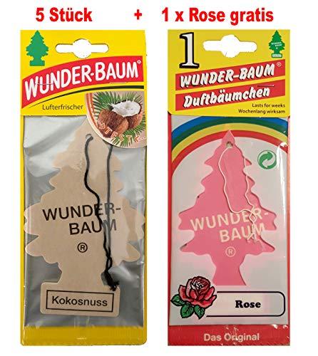 Wunderbaum 5 Stück Kokosnuss Wunder-Baum Lufterfrischer Duftbaum Original inkl. 1 x Gratis Rose (Kokosnuss)