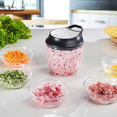 ZOIC Food Vegetable Fruit Chopper Manual Food Processor Slicer Mincer Mixer Dicer Hand Held Pull String 900ML