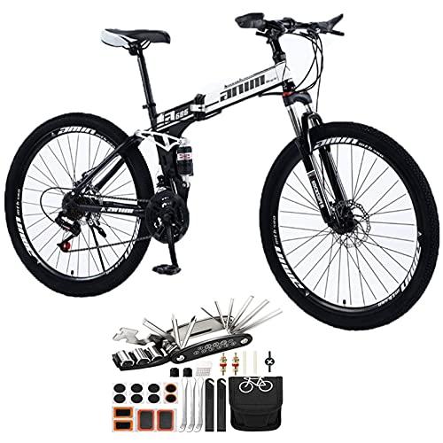Tbagem-Yjr 21 Velocidad MTB 26En Bicicletas de montaña Rueda de Hablar con Frenos de Disco Suspensión Completa Herramienta de Bicicleta al Aire Libre Accesorios para Bicicleta de montaña Plegable