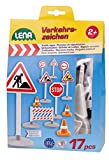 Lena 04440 - Verkehrszeichen Set mit 17 Teilen, mit 9 Verkehrsschilder ca. 16 cm, 5 Pylonen und 3 Bauzäunen, optimal für Lena Spielfahrzeuge Truxx, Worxx,...