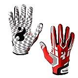 ENG Guantes de fútbol para hombre, guantes de rugby universales, guantes receptores para juego de rugby, guantes de fútbol americano, rojo M