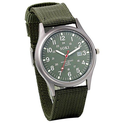 Jewelrywe Orologio da uomo al quarzo con cinturino in nylon, orologio con l'esercito del calendario in stile militare, regalo per l'uomo, verde militare