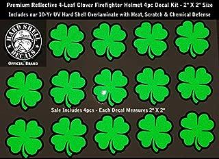 High Performance Vinyl Graphics LLC Reflective Green 4 Leaf Clover Firefighter Helmet Decal Sticker Kit 4pcs 2