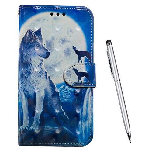 TOUCASA Kompatibel mit Huawei Y6 2018 / Honor 7A, Handyhülle Brieftasche PU Leder Flip [3D] Case Magnetverschluss Handytasche Klapphülle Tasche Lederhülle Schutzhülle (Wolf)