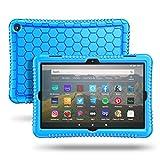 Fintie Silikon Hülle Kompatibel mit Das Neue Fire HD 8 und Fire HD 8 Plus Tablet (10. Generation, 2020) - Leichte rutschfeste Stoßfeste Silikon Tasche Kinderfreundliche Schutzhülle (Blau)