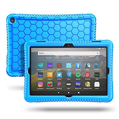 Fintie Silikon Hülle Kompatibel mit Das Neue Fire HD 8 & Fire HD 8 Plus Tablet (10. Generation, 2020) - Leichte rutschfeste Stoßfeste Silikon Tasche Kinderfre&liche Schutzhülle (Blau)