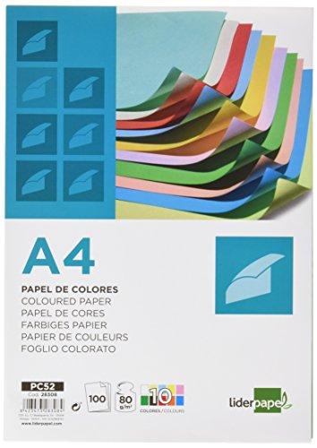 Liderpapel PC52 - Papel color, A4 80G/M2 10 colores surdidos