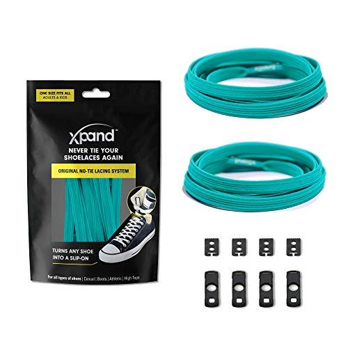 Xpand® Schnürsenkel ohne binden - Flache elastische Schnürsenkel mit einstellbarer Spannung - in alle Schuhe einfach nur hineinschlüpfen (GRUN BLAU)