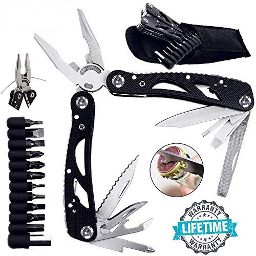 25 in 1 Multi Tools, Folding Pocket Knife, Lightweight & Multi-Purpose Stainless Steel Multi-Plier Kits with Exquisite Bag Best for Camping, Survival, Hiking, Fishing, Hunting & DIY Activities