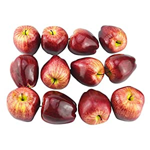 JEDFORE Artificial Lifelike Fake Dark Red Apple Simulation Red Delicious Apples Set Fake Fruit for Home House Kitchen Wedding Party Decoration Photography – Set of 12