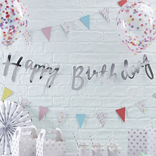 Ginger Ray Silver Designer Happy Birthday Bunting Banner - Pick and Mix