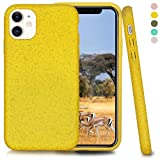 Inbeage Biodegradable iPhone 11 Phone Case,Eco-Friendly,Durable and Slim,6.1 Inches (Cyber Yellow)