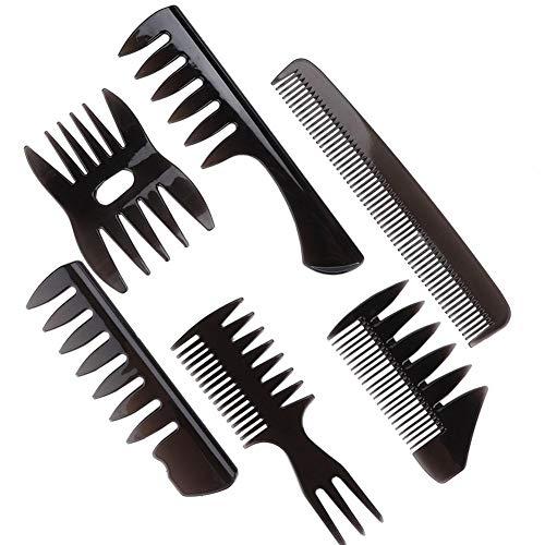 Peigne à dents larges, peigne à cheveux à l'huile 6pcs/set style rétro hommes peigne à cheveux pour hommes Coiffure Portable large peigne à dents