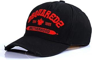 DSQCIOND2 Uomini Donne Pianura Cotone Regolabile Lavato Twill Basso Profilo Baseball cap Cappello, Cappelli di papà,Black