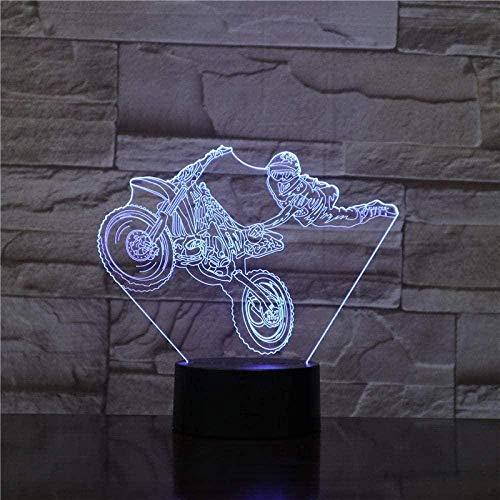 Motociclista 3D luz nocturna LED colorida presentación de diapositivas USB táctil control remoto lámpara de escritorio decoración del dormitorio del hogar juguete de regalo especial para niños