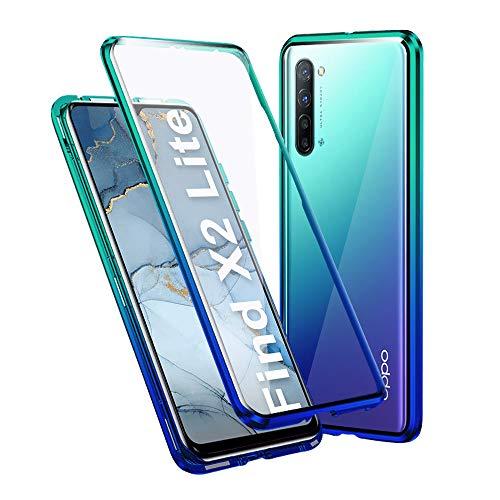 Ellmi Magnetische Adsorption Hülle für Oppo Find X2 Lite, Metall Stoßstange Cover Doppelte Seiten Transparent Gehärtetes Glas Handyhülle für Oppo Find X2 Lite, Blau