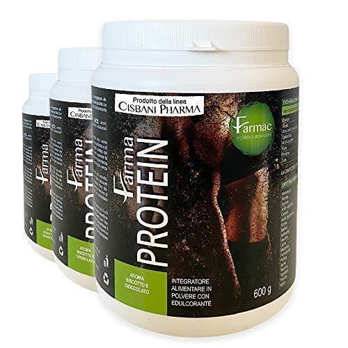 FarmaProtein, PROTEINE WHEY, proteine in polvere isolate del siero del latte | Gusto Cacao, 600 gr, 57 porzioni, 85% di proteine | Ricchi di Amminoacidi, aumento massa muscolare e recupero da sforzo